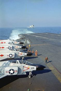 An F-4B of VF-101 comes aboard the USS  Enterprise during carrier qualifications off the east coast.