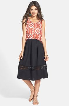 Painted Threads Lace Inset Midi Skirt (Juniors) available at #Nordstrom