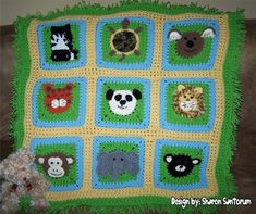 A Day at the Zoo Crochet Baby Afghan Pattern PDF. $6.99, via Etsy.  Yeah, I made this. It's pretty crazy!
