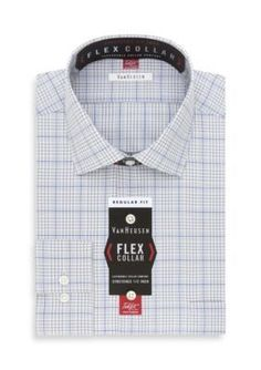 Van Heusen Ice Blue Flex Collar  ular Fit Dress Shirt
