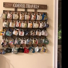 Coffee cup holder, coffee cup rack, 40 to 48 Hook coffee mug rack, coffee mug holder, Holds Starbucks You Are Here Mugs Coffee Cup Rack, Coffee Mug Display, Coffee Mug Holder, Coffee Cups, Coffee Cup Storage, Mug Storage, Coffee Bar Home, Coffee Shop, Diy Vintage