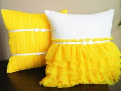 Decorated with yellow chiffon pillow cover set Cute Pillows, Diy Pillows, Decorative Pillows, Throw Pillows, Handmade Cushion Covers, Cushion Cover Designs, Ruffle Pillow, Quilted Pillow, Felt Pillow