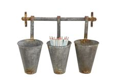 Aged Metal Wall Rack with Three Pots | Farmhouse Wares