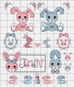 DMC diagrama de punto de cruz para bordar en la canastilla Soft Baby disponible en rosa, azul o gris y con un estampado en topitos blancos   bunnies #crossstich chart #bib #babyshower #baptism #Easterbunny #Easter #springtime
