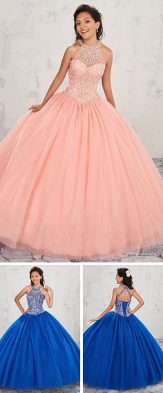 MQ1002   Halter tulle quinceanera ball gown with beaded bodice, basque waist line, back with cut out and lace-up closure, and matching bolero.