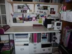 My messy scrapbook area.  :)  I'm hoping to take over the whole office soon and really spread out.