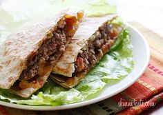 Buffalo Burger Quesadillas - buffalo burgers with melted cheddar jack cheese and pico de gallo wedged in between two whole wheat tortillas. #fathersdayrecipes
