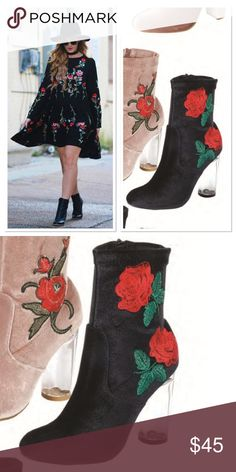 Black Rose booties Nice stems. The Rosa Boot is made in black suede and features red rose embroidery at outer side, side zipper, covered heel, rounded toe.     *True to size  *Shoe height: not sure  *Heel height: 4 Shoes Ankle Boots & Booties