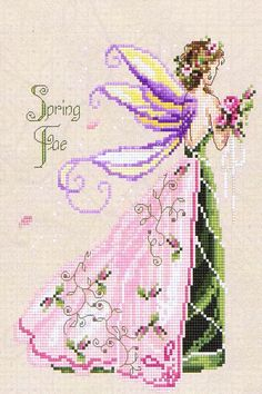 A lovely picture of a fairy in pink and green carrying flowers in the same shades.