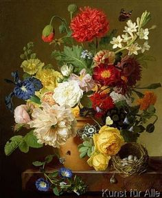 Jan Frans Van Dael - Flower Still Life on a marble ledge, 1800-01