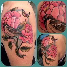 Flowers, bird, shoulder tat