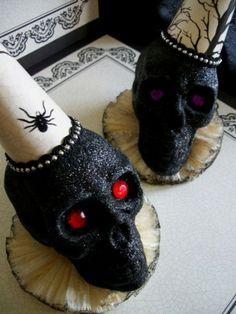 Halloween Black Glitter Skulls by heidi
