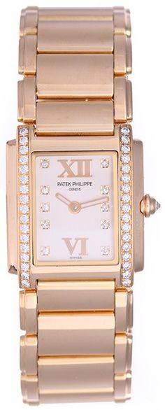 Patek Philippe 18k Rose Gold Quartz Watch.