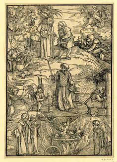 Sorcery and witchcraft; witches and warlocks engaging in various rituals, including flying on rams, preparing potions; at lower centre witches being burnt. Illustration to Tengler, 'Der neü Layenspiegel…', Augsburg: Johann Otmar (for Johann Rynmann), 1511. Woodcut by: Hans Schäufelein  The British Museum