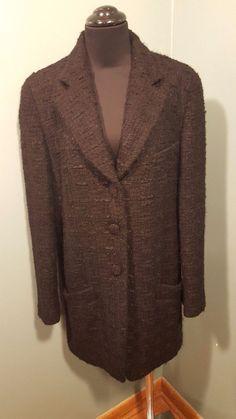 Donna Karan New York Black Wool Mohair Textured Lined Long Women's Dress Coat 8  #DonnaKaran #BasicCoat #daystarfashions $99