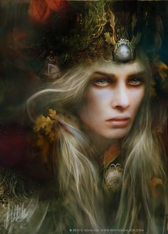 """Oropher, father of Thranduil, grandfather of Legolas Greenleaf , Lord of Lórinand, Lord of Northern Mirkwood, King of the Silvan Elves, King of the Woodland Realm died SA 3434 in the Battle of Dagorlad.  From """"The Hobbit"""". Illustration by Bente Schlick"""