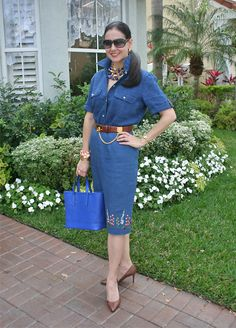 Ralph Lauren Linen Shirt, Embroidered Linen Pencil Skirt, Snakeskin Shoes, Crocodile Belt, Pierced Leather Innue Bag, Fendi Watch, Tasha and Gold Bracelets, and Brass and Resin Necklace. Spring is around the corner! Floral and preppy-classic outfit in shades of blue.