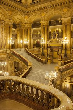 Grand staircase entry to Palais Garnier - Opera House, Paris France...wow