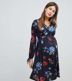 be6ee95cb38 Bluebelle Maternity midi dress with bell sleeve in folk print
