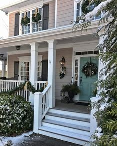 Transitioning from Christmas to Winter Home Decor - The Painted Chandelier Rustic Shutters, Farmhouse Shutters, Repurposed Shutters, Diy Shutters, Houses With Shutters, Exterior Paint Colors For House, Exterior Colors, Exterior Design, House Shutter Colors