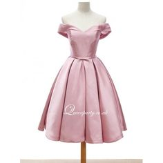 Pink Satin Off The Shoulder Short Homecoming Dress - Prom Dresses - Wedding Dresses