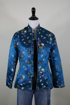 Vintage Chinese Asian Silk Brocade Jacket Frog von YaYaRetro