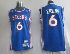Mitchell and Ness 76ers #6 Julius Erving Embroidered Blue Throwback NBA Jersey! Only $20.50USD