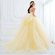 Cinderella & Co.:【シンデレラ】イエローのふんわりチュールのカラードレス SS5591YE