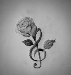 Treble clef and rose More