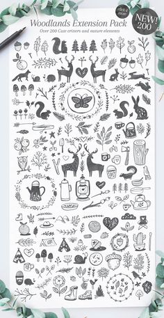 (Sponsored) Poppit & Finch Fonts & Illustrations by Nicky Laatz - Get 2 fonts + tons of digital illustrations, including all these forest-inspired ones + a Christmas set, animals, and more! Illustration Photo, Illustrations, Album Journal, Christmas Doodles, Tatuagem Old School, Scandinavian Art, Christmas Illustration, Doodle Art, Paper Cutting