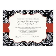 Pretty and classic styled red and black damask patterned wedding invitations set. Has a red bar against a stylish black and white damask pattern. A fun invite to use for weddings, bridal showers, or engagement party. Has a modern contemporary theme too. Invitation Set, Wedding Invitations, Invite, Simple Wedding Cards, Wedding Ideas, White Damask, Card Patterns, Crystal Wedding, Maid Of Honor