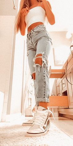 Teen Fashion Outfits, Retro Outfits, Girly Outfits, Cute Casual Outfits, Look Fashion, Stylish Outfits, Casual School Outfits, Simple Outfits, Cute Outfit Ideas For School