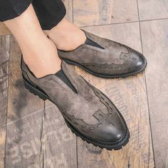 Men's leather slip on brogue V style, retro brogue, work, office, business occasions. Gucci Leather Shoes, Leather Brogues, Grey Leather, Leather Slip Ons, Mens Smart Shoes, Men's Shoes, Dress Shoes, Mens Winter Boots, Shoes World