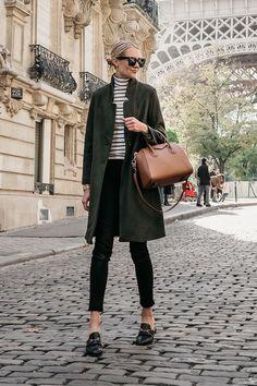 Eiffel Tower Paris France Blonde Woman Wearing Green Wool Coat Black White Stripe Turtleneck Black S Turtleneck Outfit, Striped Turtleneck, Fall Winter Outfits, Autumn Winter Fashion, Fall Fashion, Soft Grunge, Alternative Rock, Green Wool Coat, Loafers Outfit