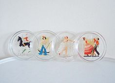 Set of Four Vintage Glass Coasters with Decals Mid by mothrasue, $18.00