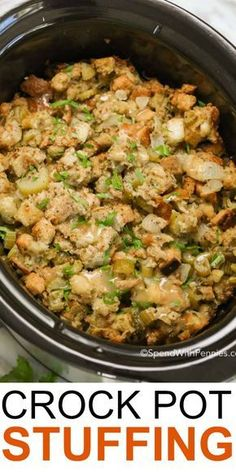 Crock Pot Stuffing - Spend With Pennies This is the best stuffing recipe I've ever had! Crock Pot Stuffing takes my favorite classic stuffing recipe and turns it into an easy make ahead slow cooker side dish. This stuffing is p Stuffing Recipes For Thanksgiving, Thanksgiving Sides, Thanksgiving Treats, Best Turkey Stuffing, Traditional Thanksgiving Dinner, Thanksgiving Dressing, Cooker Recipes, Crockpot Recipes, Easy Recipes