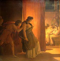 ***P.N.Guérin, Clitemnestra vacila antes de matar a Agamenón dormido, 1817. París, Museo del Louvre.