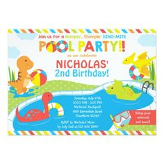 Cute KidS Pool Birthday Party Invitation  Birthday Party