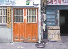 chungmuro alleyway digital painting 44x30cm 300dpi.- illustart