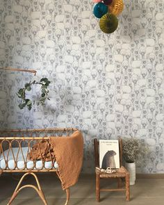 Such a gorgeous bear wallpaper that would fit perfectly in either a girl's or boy's room by with a mustard blanket by - - - - kidsroom