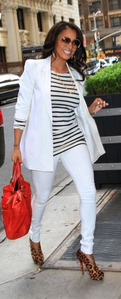Lala Anthony in NYC --Lala Vazquez was spotted heading back to her hotel in this white blazer and pants, striped tee and cheetah Louboutins look: