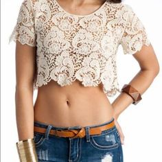 "H&M lace crop top. NWT H&M cream lace crochet crop top, size S.  so cute and comfy great length hits at mid torso.  approximately 15"" from shoulder to hem and 15"" from pit to pit.  new with tags, never worn, perfect! H&M Tops Crop Tops"