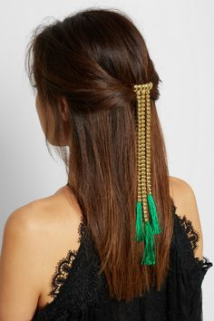 Vibrant tassels are a defining feature of Rosantica's new collection - they're dyed naturally so the color won't lose its vibrancy. Handcrafted by expert artisans in the label's Milanese atelier, this gold-tone brass hairclip drapes elegantly down your back to perfectly complement long, loose tresses.