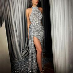 New Irregular Hem Silver Halter Evening Dress - Evening Dresses Pretty Prom Dresses, Sexy Dresses, Cute Dresses, Beautiful Dresses, Fashion Dresses, Summer Dresses, Silver Prom Dresses, Long Silver Dress, Silver Evening Gowns