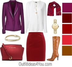 This holiday outfit idea pairs a silk violet jacket with a red velvet skirt. For more holiday outfit ideas visit OutfitIdeas4You.com