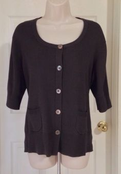 Chicos Size 3 Large Dark Chocolate Brown Cardigan Sweater Jacket MINT CONDITION