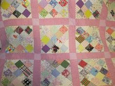 "Beautiful Antique Quilt 1930's Hand Piece Hand Quilted 84"" by 73"" 