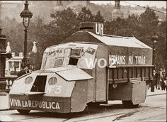 Spain - 1937. - GC - Zona republicana - Bilbao - This lorry was converted into a tank by loyalist soldiers of the new Basque Republic in northern Spain stationed in this city