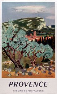 Provence Chemins de fer Francais original vintage travel poster from 1967 by Yves Brayer. Retro Poster, Vintage Art Prints, Vintage Travel Posters, Graphisches Design, Kunst Poster, Travel Images, France Travel, Illustrations Posters, Original Art