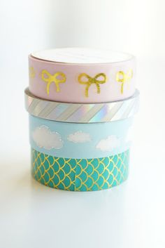 simply gilded Spring 2016 washi design set - cloud, mermaid tail, gold and pink ribbon *WITH* rainbow skinny foil